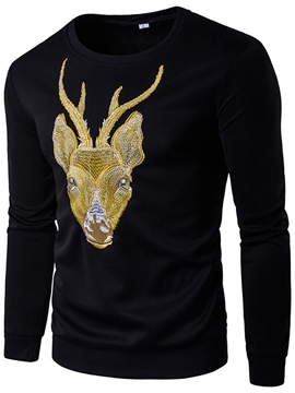Ericdress Deer Embroidery Crew Neck Casual Men's T-Shirt