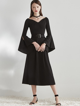 Ericdress V-Neck Flare Sleeve High-Waist A Line Dress