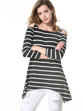 Ericdress Stripped Suspenders Tunic T-Shirt