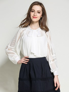 Ericdress Solid Color Hollow Lace-Up Blouse