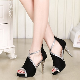 Ericdress Stylish Suede Peep Toe Stiletto Sandals