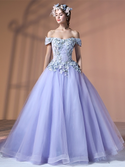 Ericdress Off The Shoulder Flower Applique Quinceanera Gown With Lace Up