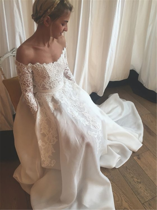 Ericdress Off-The-Shoulder Applique Long Sleeves Wedding Dress