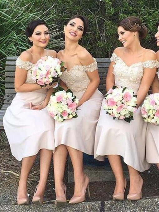 Ericdress Appliques A-Line Off-The-Shoulder Bridesmaid Dress 2019