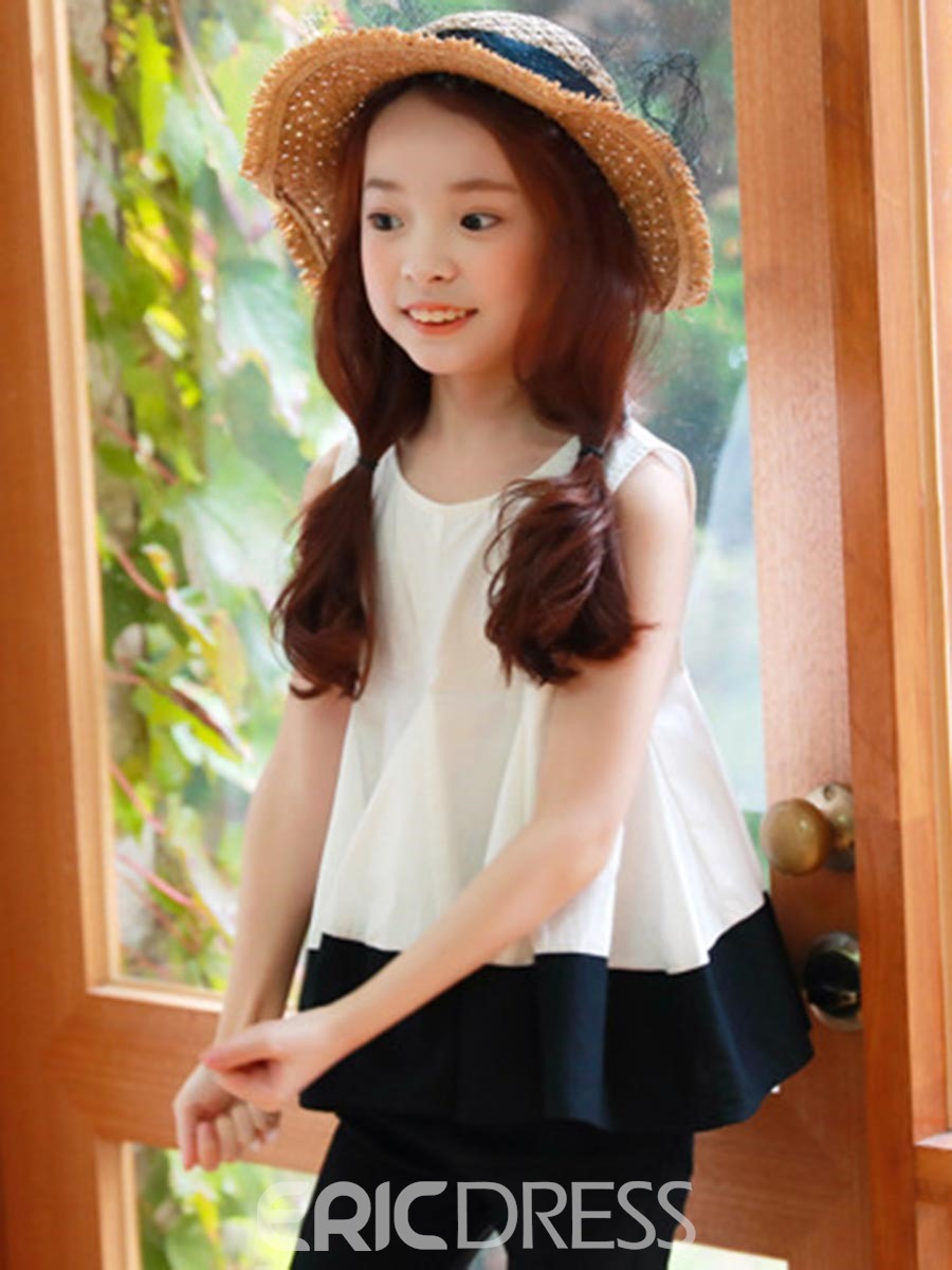 Ericdress Color Block Pleated Frill Girls T-Shirt