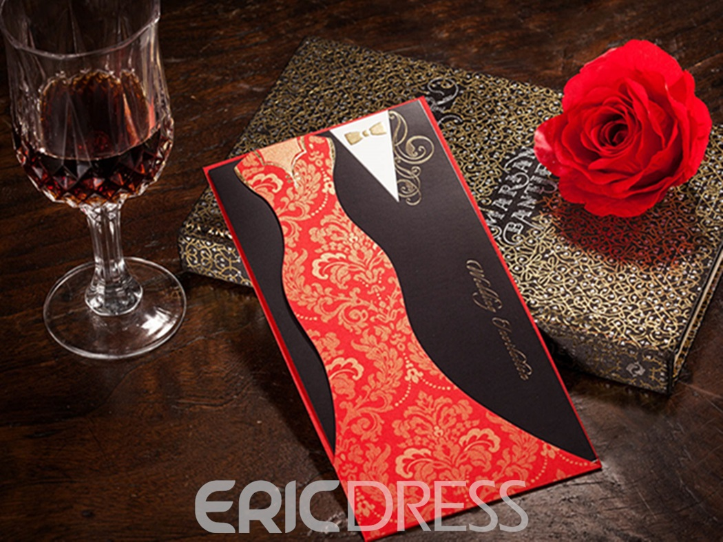 Bride&Groom Design Wrap&Pocket Invitation Cards (20 Pieces One Set)