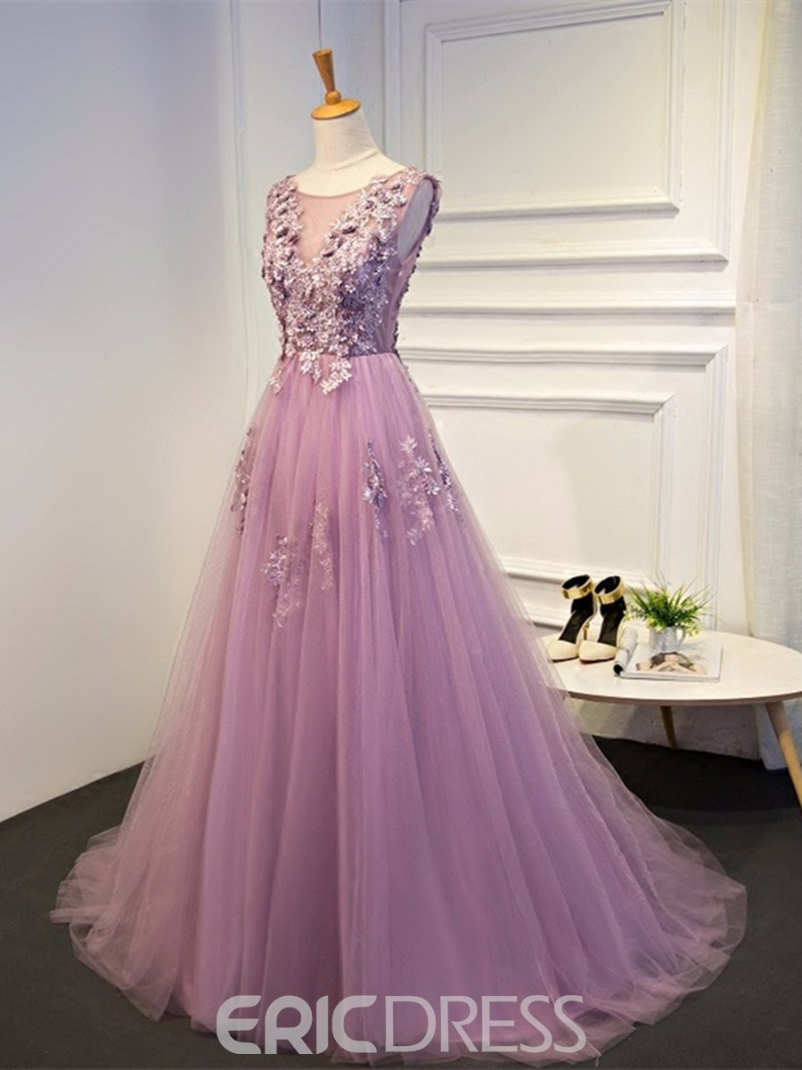 Ericdress A Line Applique Beaded Floor Length Long Evening Dress