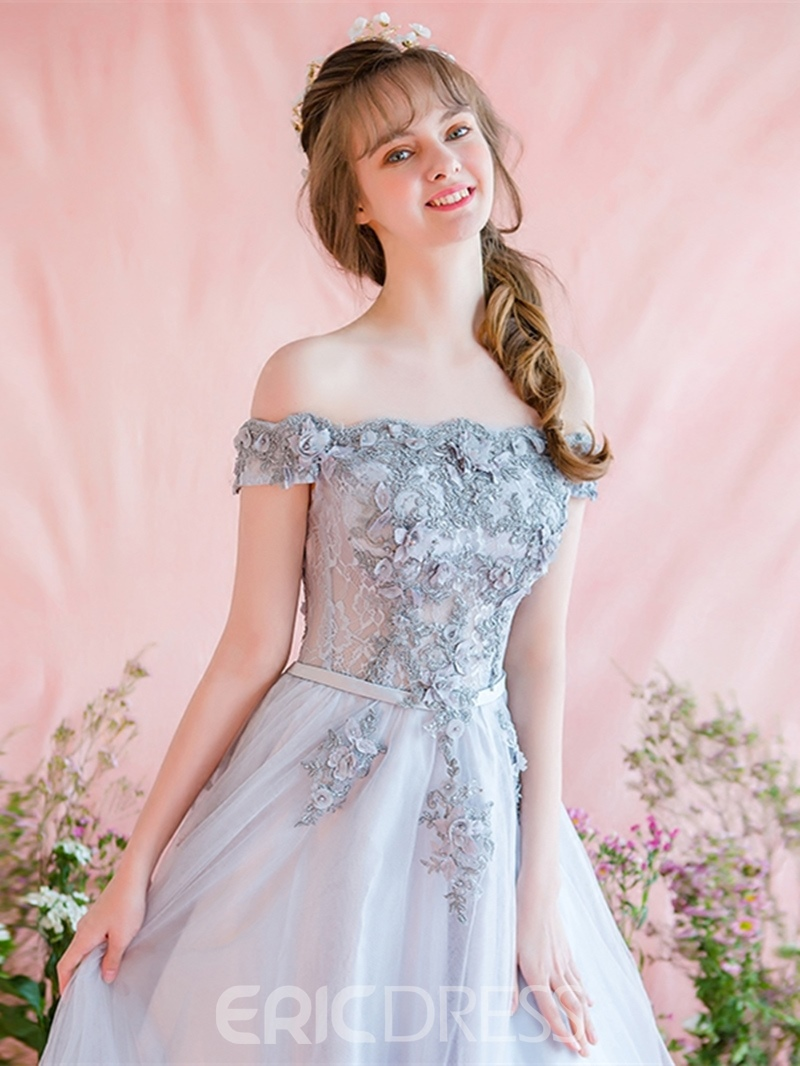 Ericdress A-Line Off-the-Shoulder Appliques Lace Prom Dress