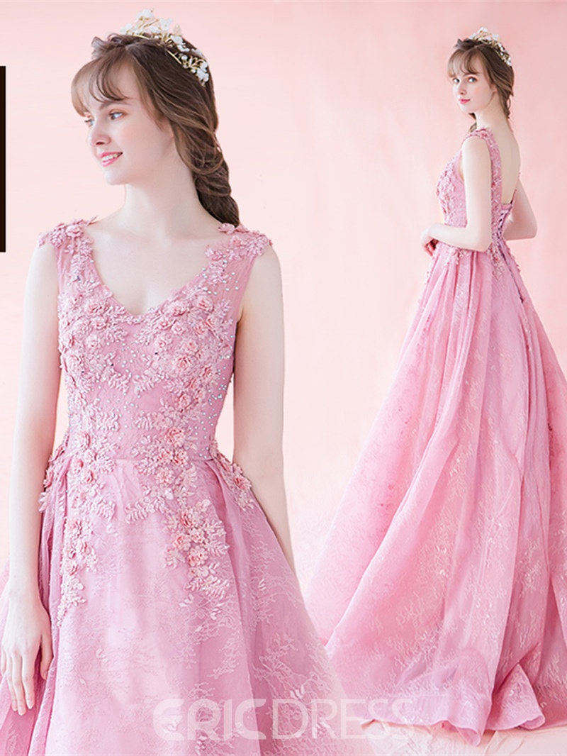 Ericdress A-Line Appliques Beaded Lace Prom Dress With Lace-Up Back