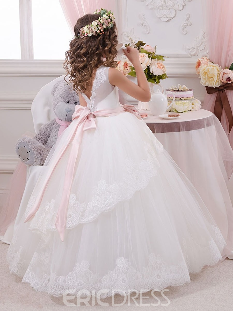 Ericdress Sashes Lace Ball Gown Flower Girl Dress