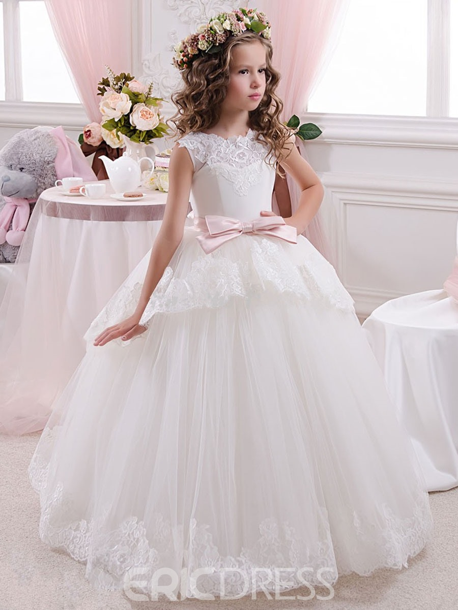 Ericdress Lace Tulle Floor Length Ball Gown Flower Girl Dress ...