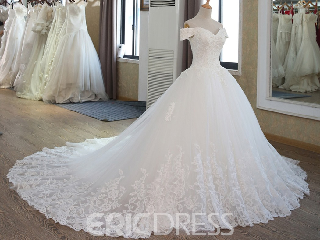 Ericdress Appliques Beaded Off The Shoulder Ball Gown Wedding Dress