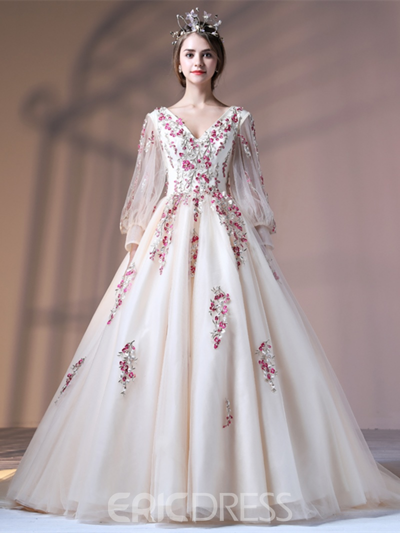Ericdress Puffle Long Sleeve Applique Evening Gown With Court Train