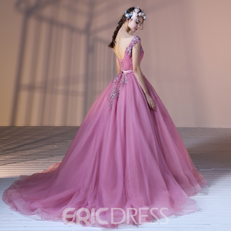 Ericdress V Neck Applique Ball Quinceanera Gown With Court Train