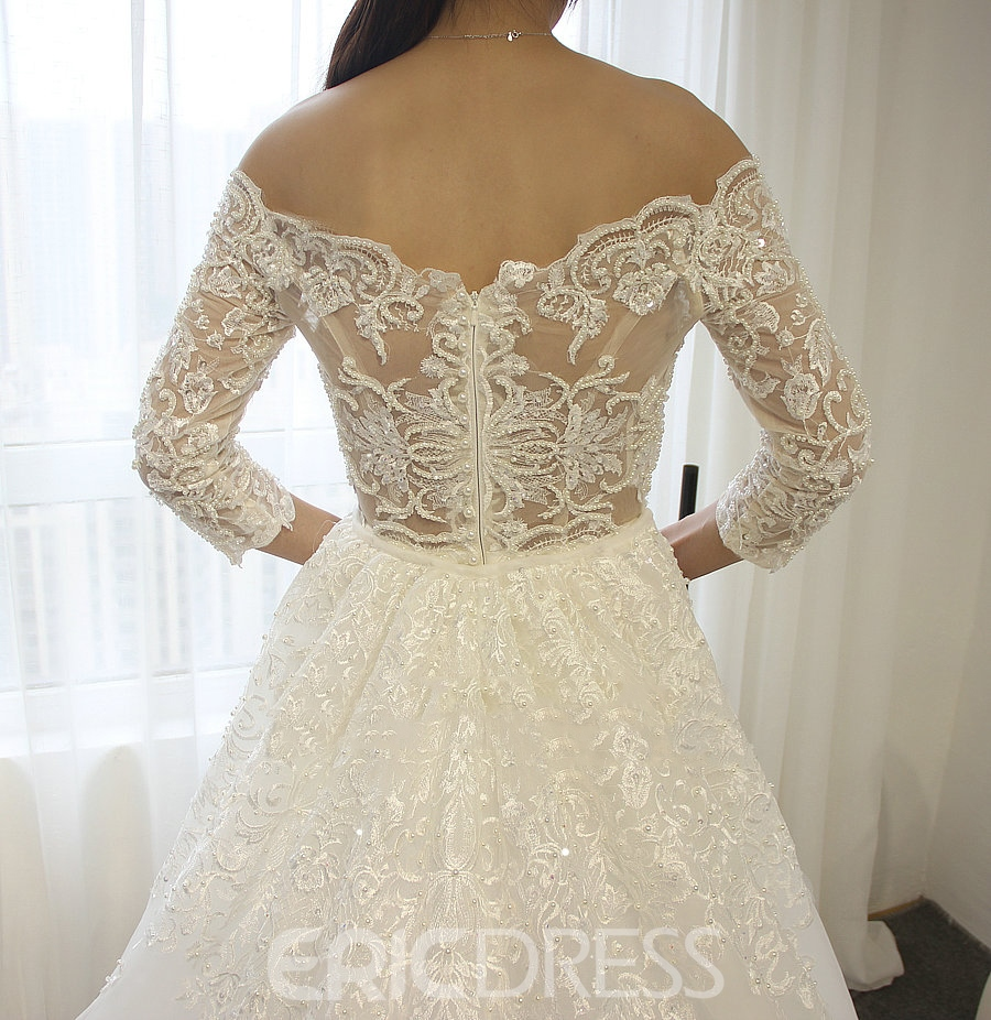 Ericdress Beading Lace Sheath 3/4 Sleeves Off Shoulder Wedding Dress