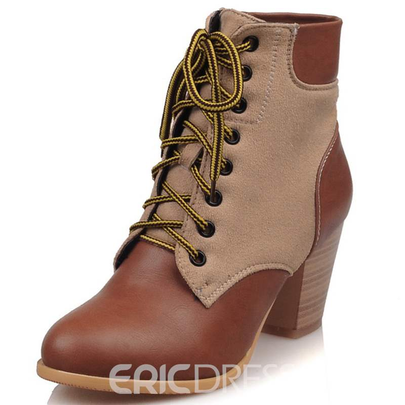 Ericdress Popular Patchwork Lace up Low Heel Ankle Boots