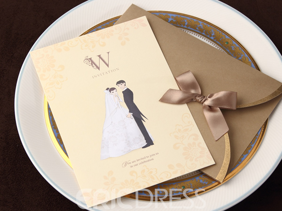 Personalized Classy Pearl Paper Invitation Cards With Bow (20 Pieces One Set)