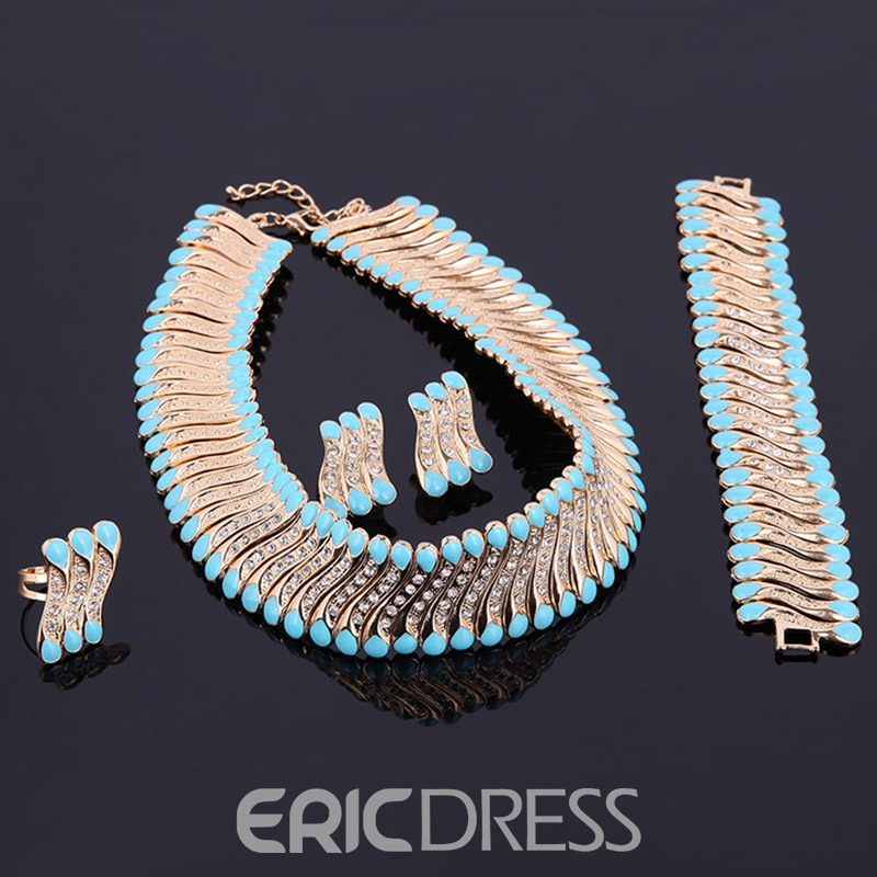 Ericdress Gold Plating Blue Acrylic Party Jewelry Set
