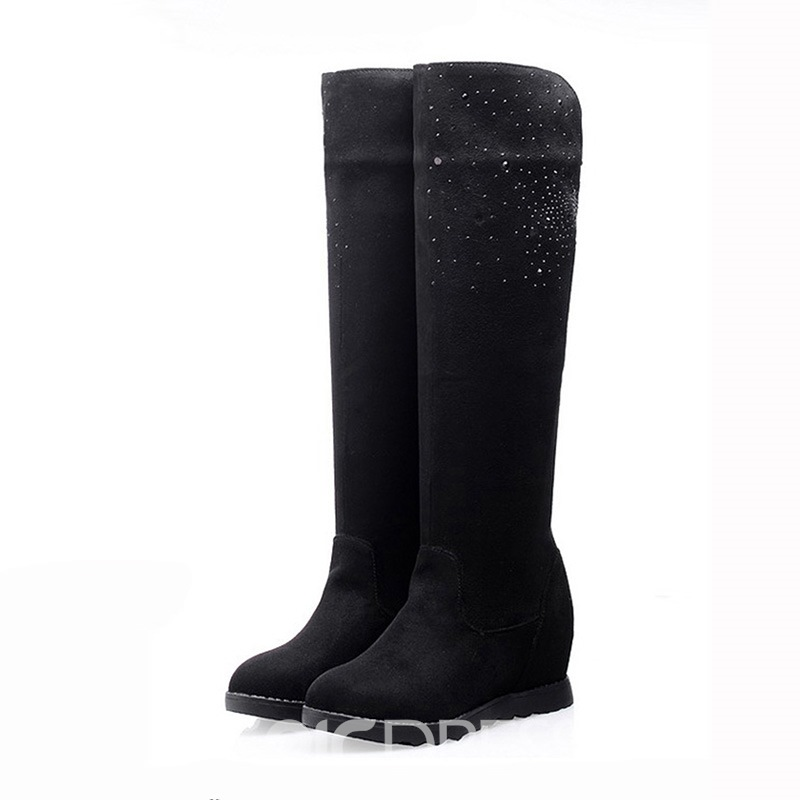 Sweet Rhinestone Decorated Long Boots