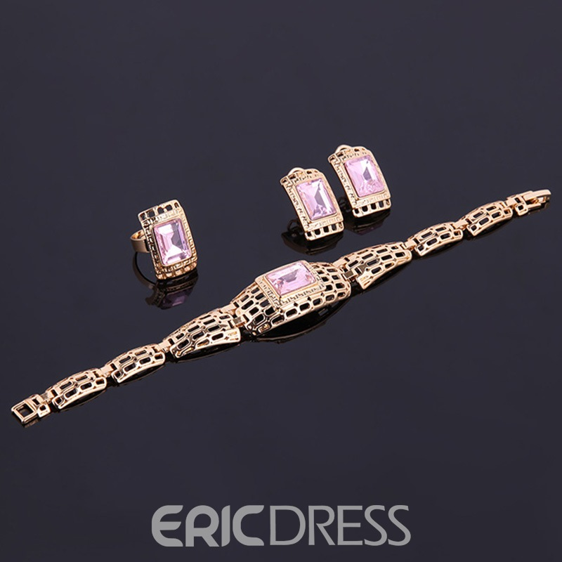 Ericdress Pink Artificial Gems Inlaid Hollow-Out Jewelry Set