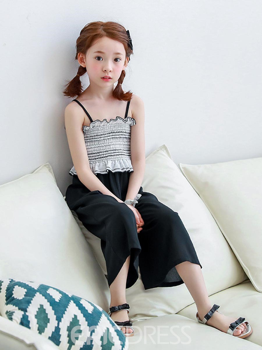 Ericdress Chiffon Stripe Wide Legs Girls Jumpsuit