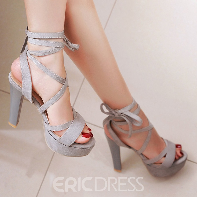 Ericdress Platform Cross Strap Lace up Chunky Sandals