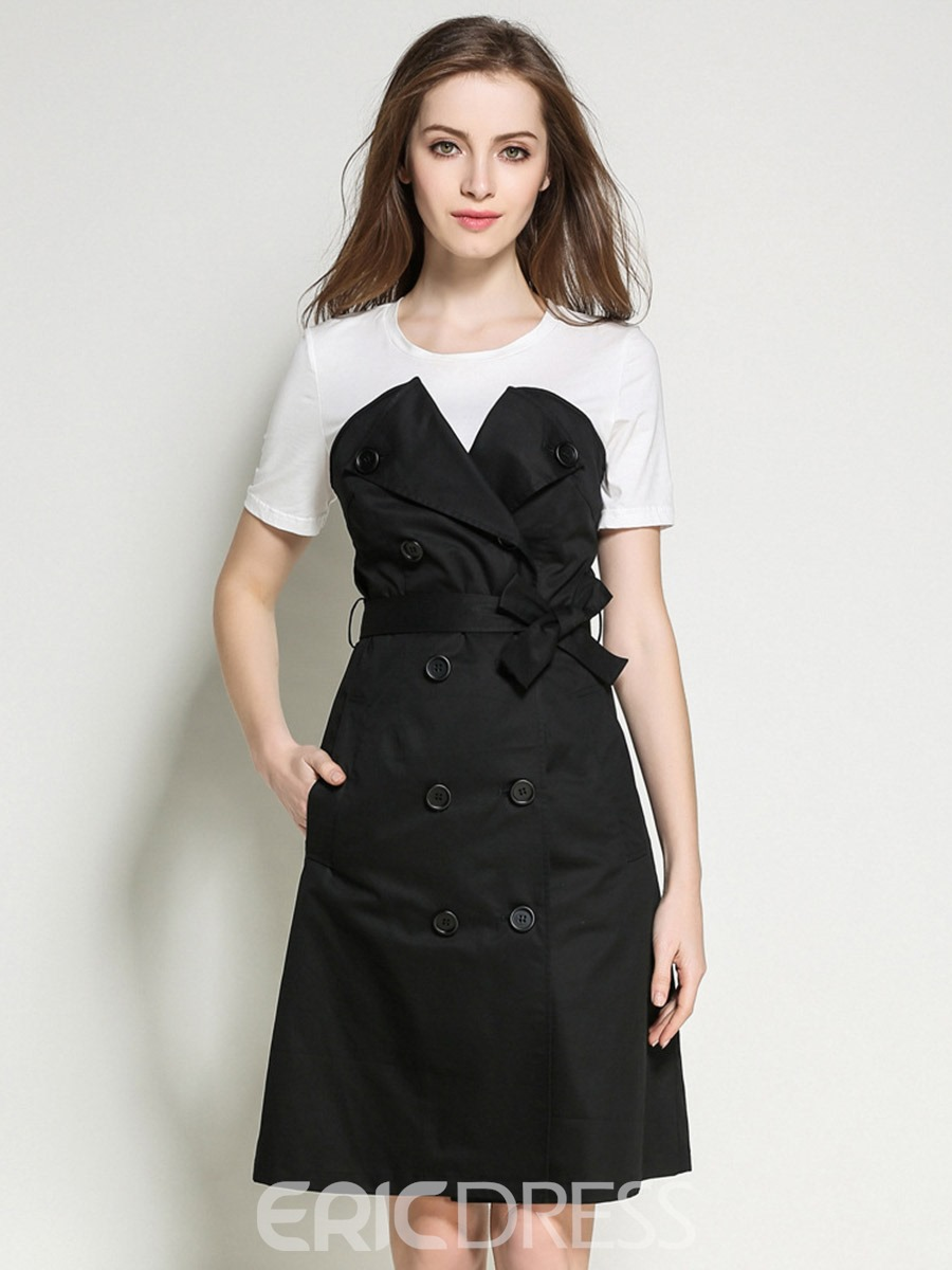 Ericdress Double-Breasted Stylelines Belt Pocket Casual Dress