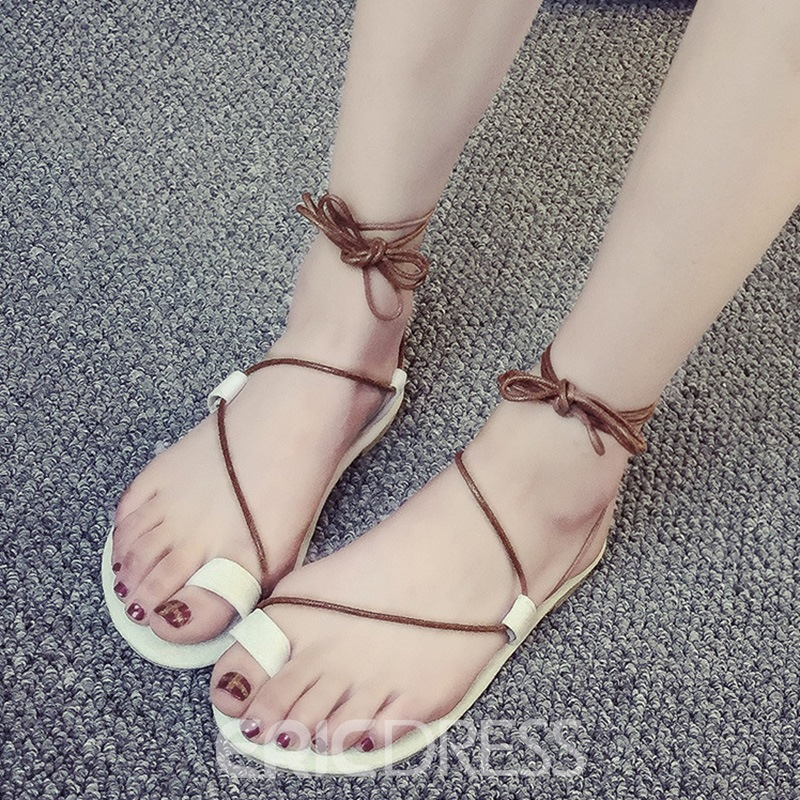83517e0946ba98 Ericdress Roman Toe Ring Lace up Beach Sandals 12779678 - Ericdress.com