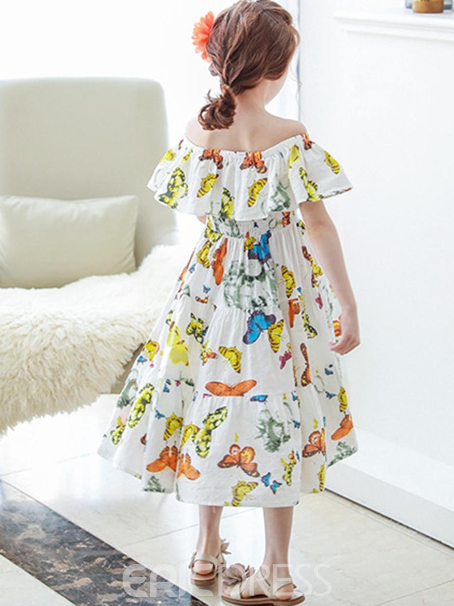 Ericdress Delicate Buttflies Off-The-Shoulder Pleated Dress