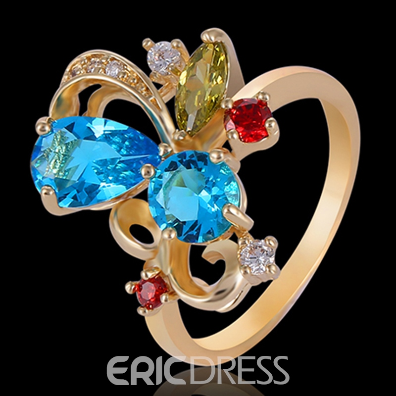Ericdress Colorful Rhinestone Flower Golden Ring