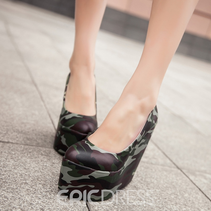 Ericdress Camouflage Round Toe Wedges