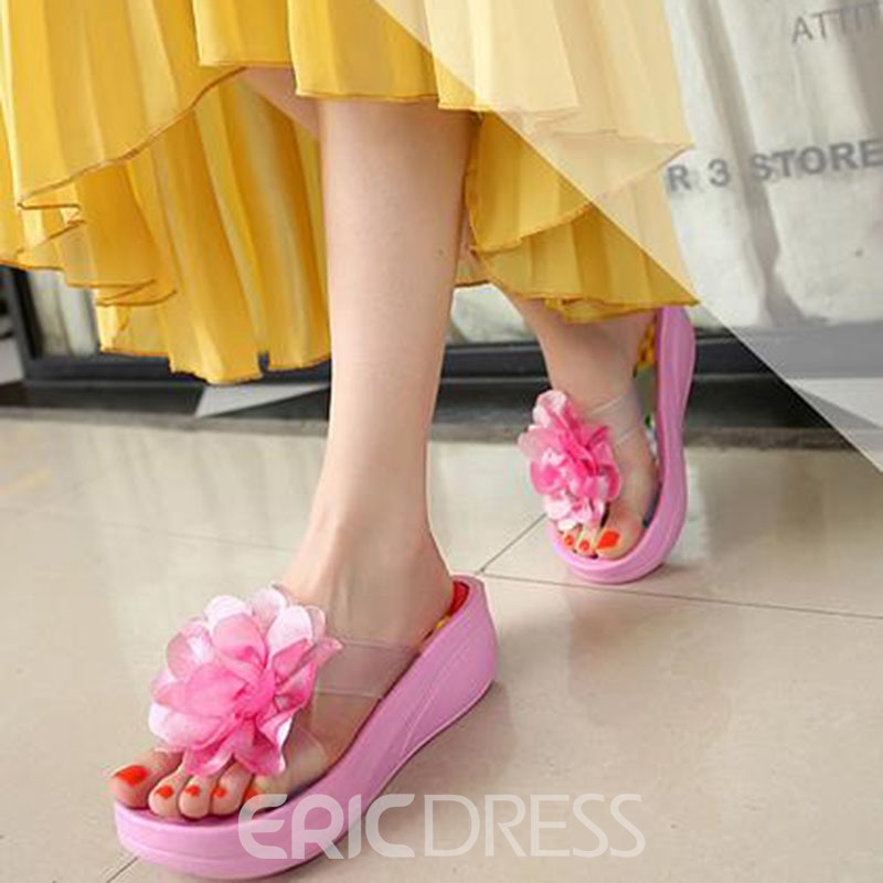 Ericdress Fabulous Flower Cut-out Beach Slippers