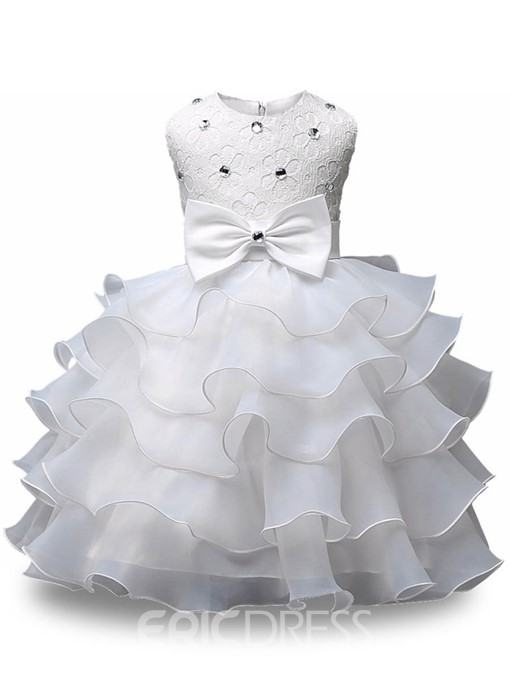 Ericdress Tiered Ruffles Tulle Lace Scoop Flower Girl Dress