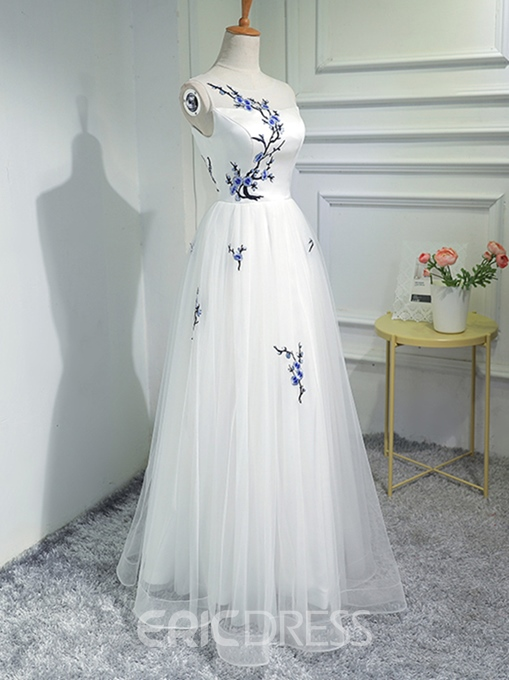 Ericdress A-Line Embroidery Floor-Length Long Prom Dress