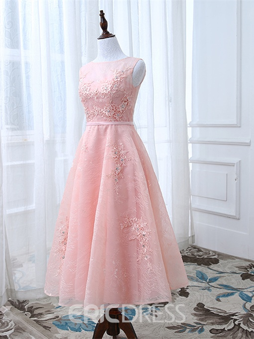 Ericdress A Line Lace Tea Length Prom Dress With Lace-Up Back