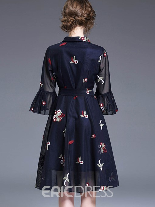 Ericdress Exquisite Embroidery V-Neck Ruffle Sleeve A Line Dress