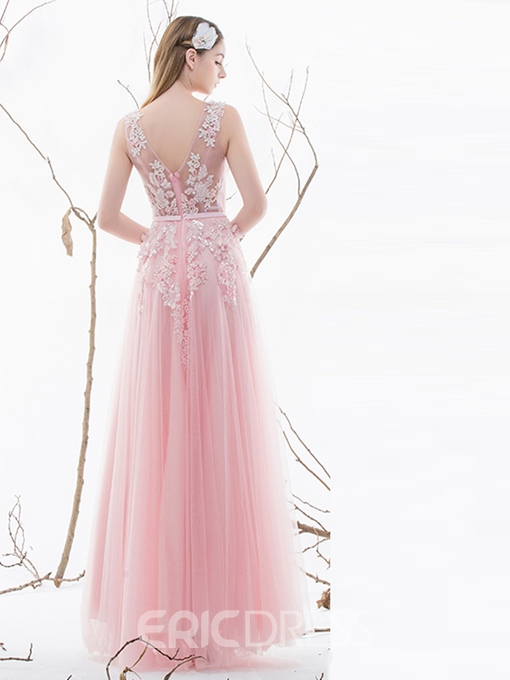Ericdress A-Line Appliques Beading Pleats Long Prom Dress
