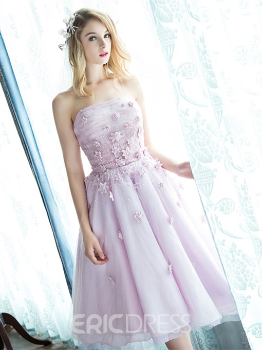 Ericdress A-Line Strapless Pearls Flowers Knee Length Prom Dress