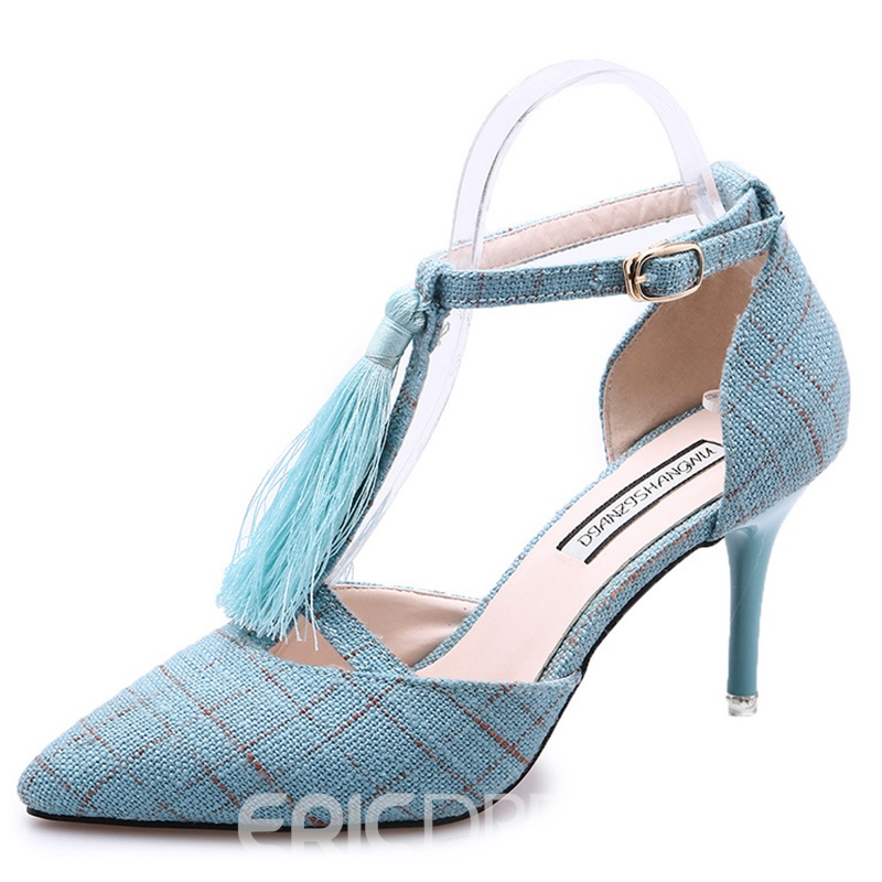 Ericdress Charming Tassels T Strap Stiletto Sandals