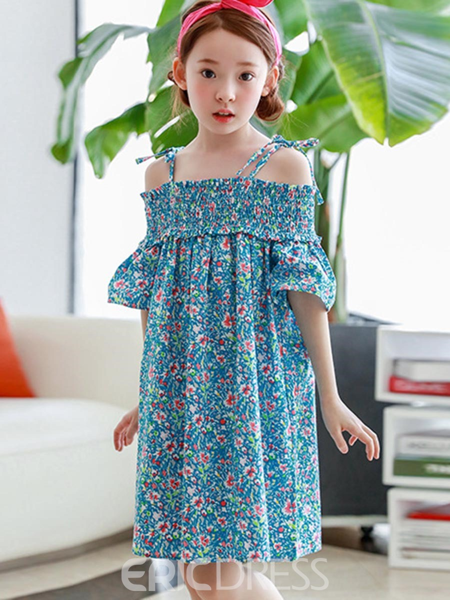 Ericdress Floral Spaghetti Strap Slash Neck Dress