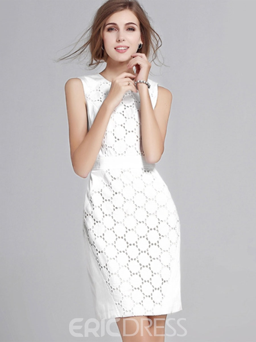 Ericdress Ladylike Hollow Sleeveless Casual Dress