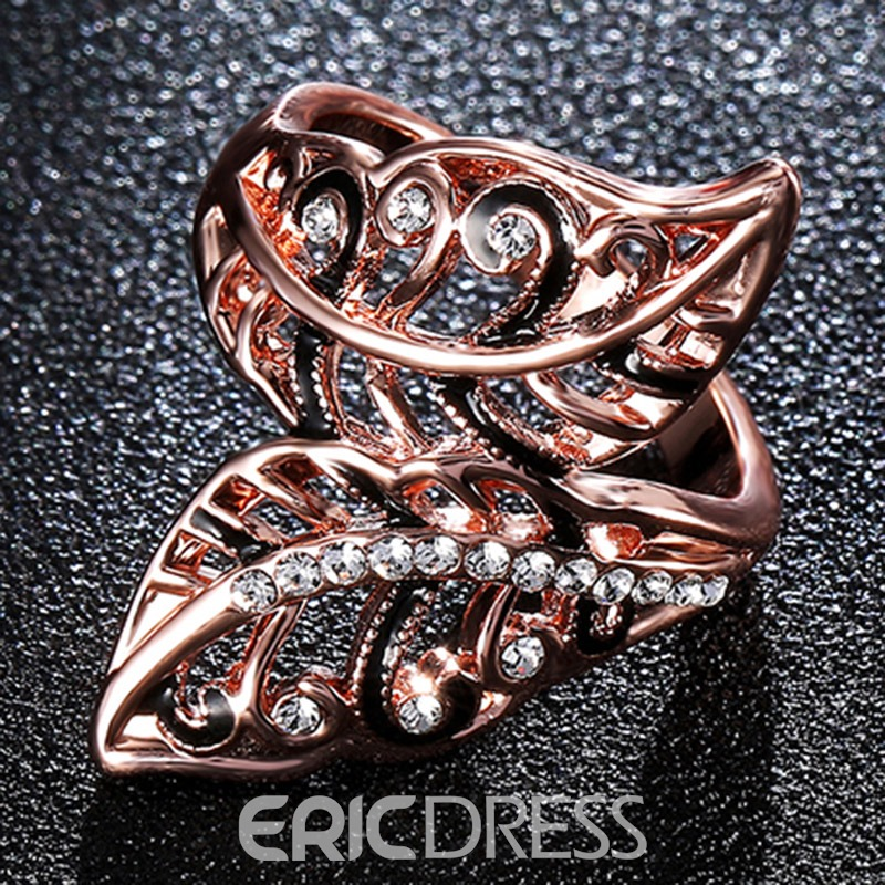 Ericdress Rose Gold Leaf Design Diamante Opening Ring