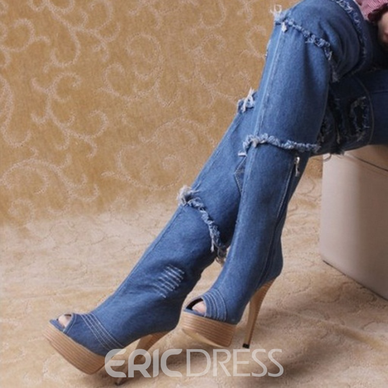 Retro Denim Stiletto Heels Peep-toe Knee High Boots
