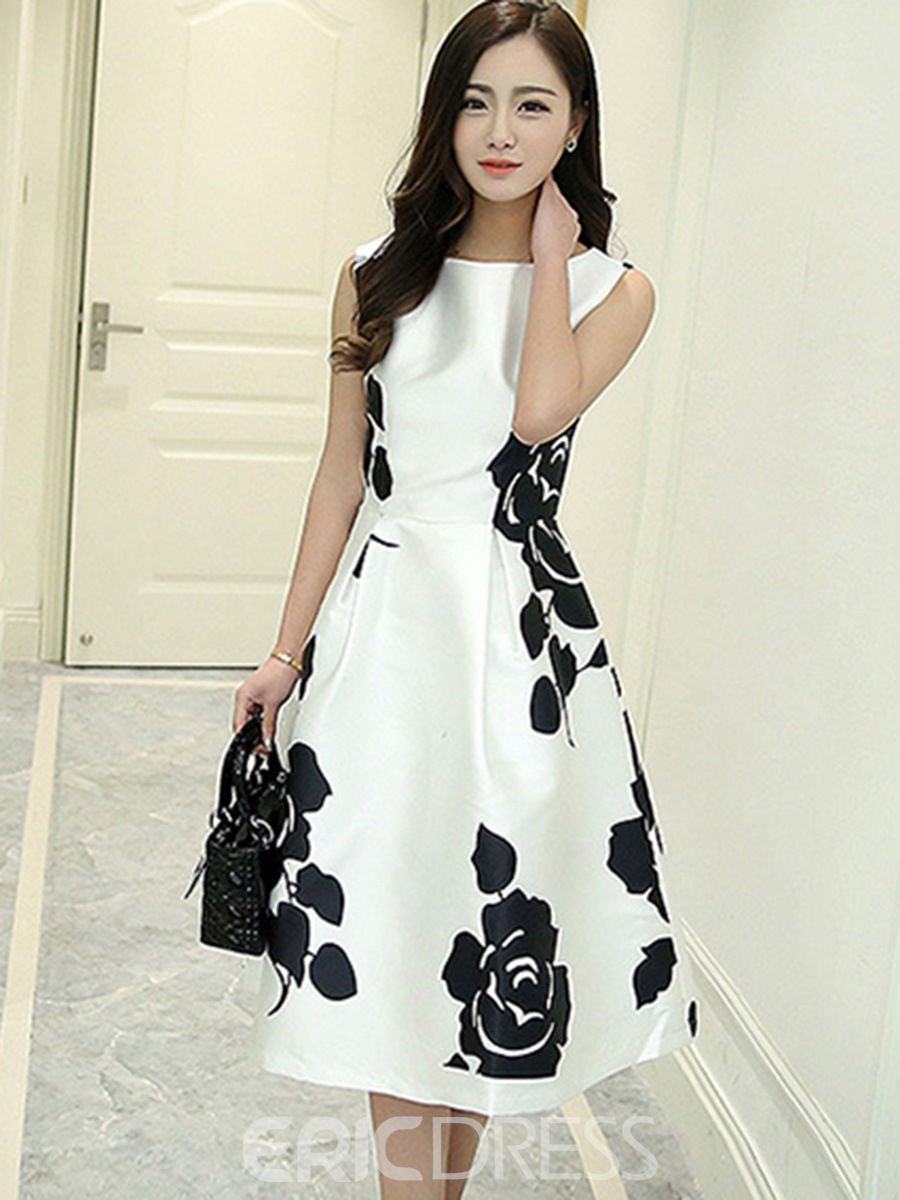 Ericdress Flower Print Pleated A-Line Casual Dress