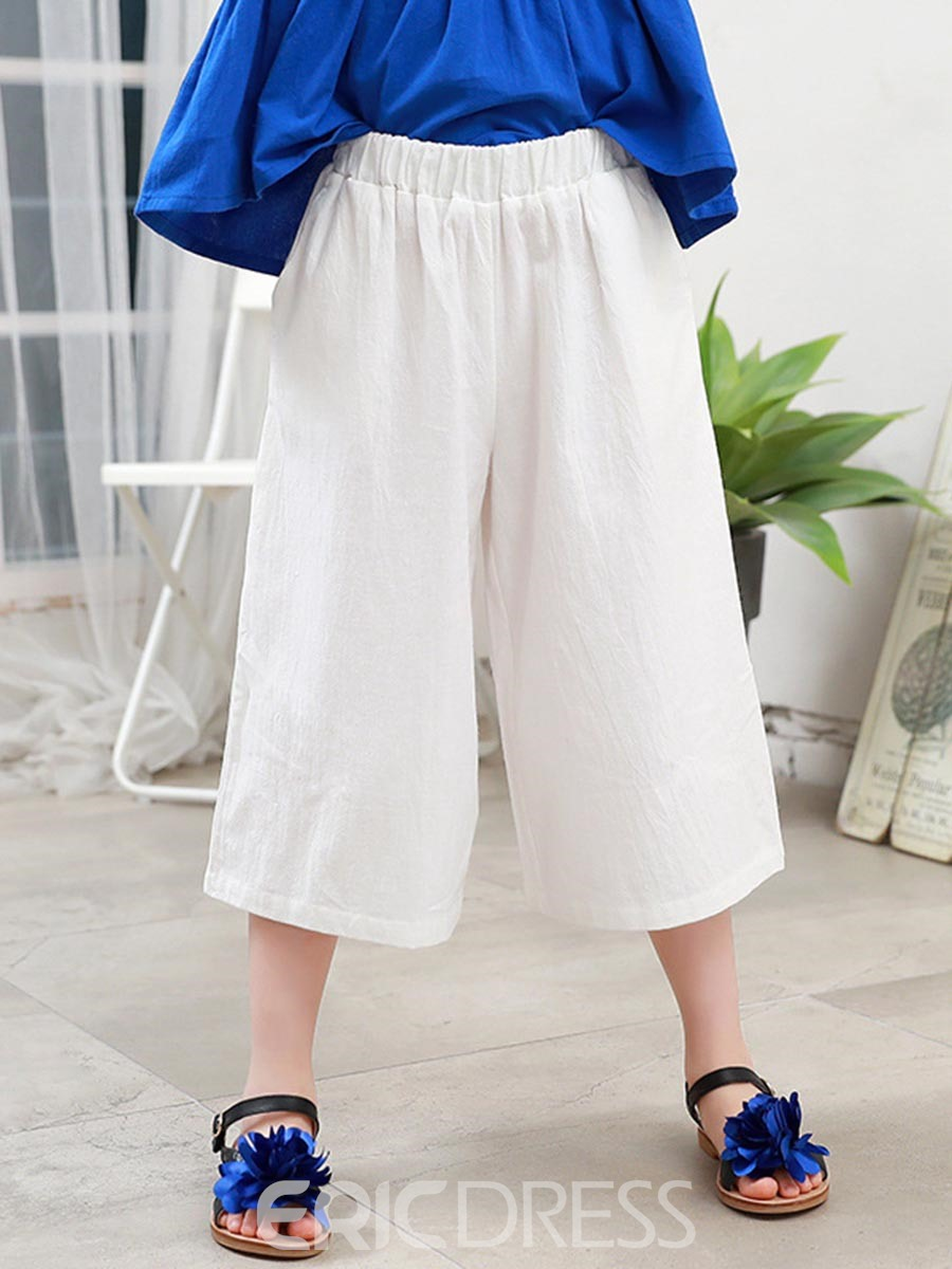 Ericdress Solid Color Wide Legs Casual Girls Pants