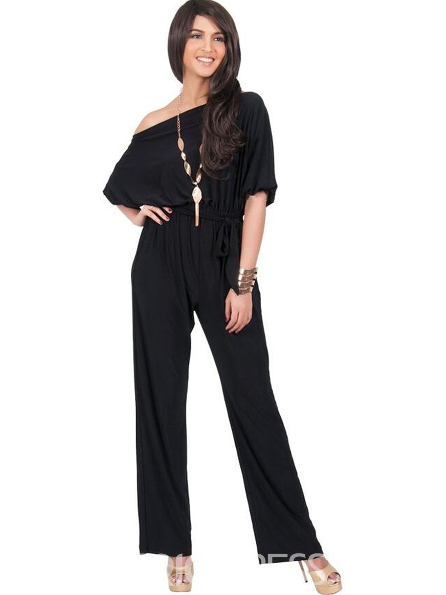 Ericdress Boat Neck Pure Color Women's Jumpsuits