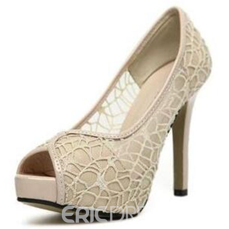 Ericdress Princess Mesh Peep Toe Stiletto Sandals