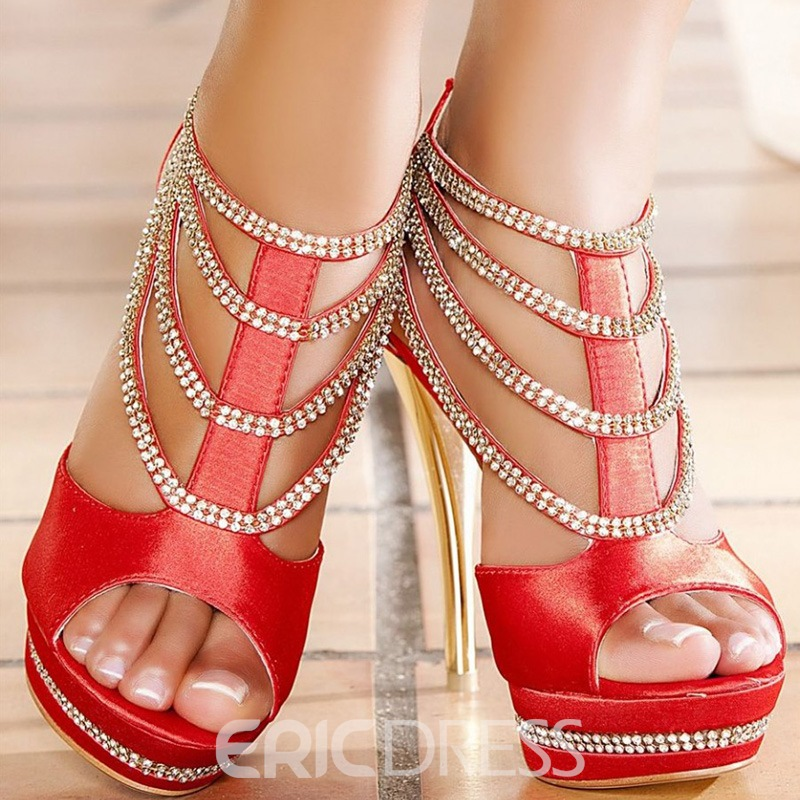Red Rhinestone Decorated Stiletto Sandals