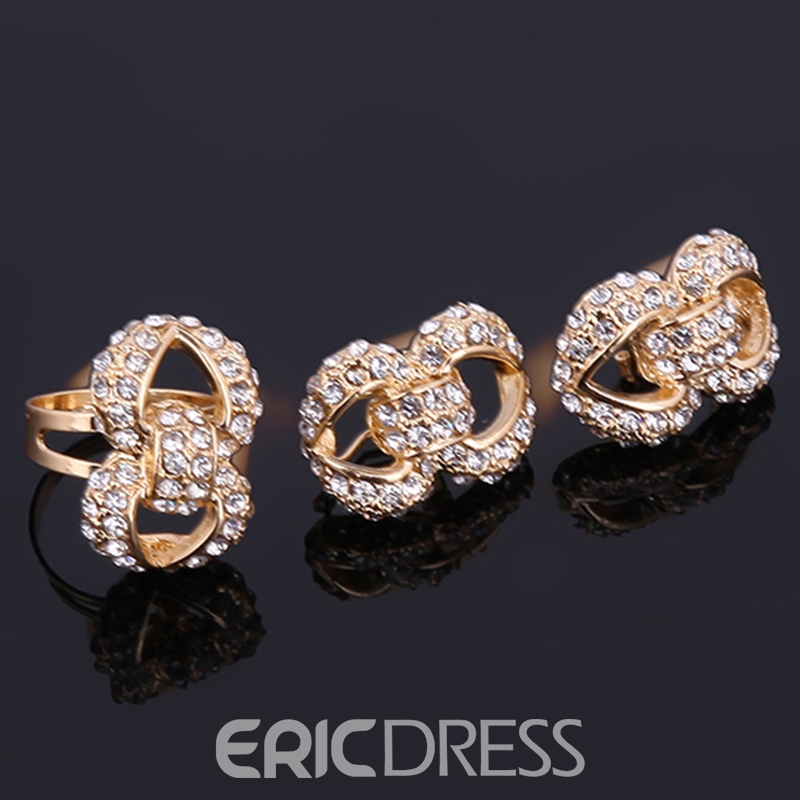 Ericdress Double Layers Shining Golden Diamante Jewelry Set