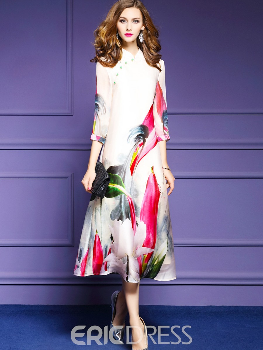 Ericdress Stand Collar 3/4 Sleeve Floral Print Maxi Dress